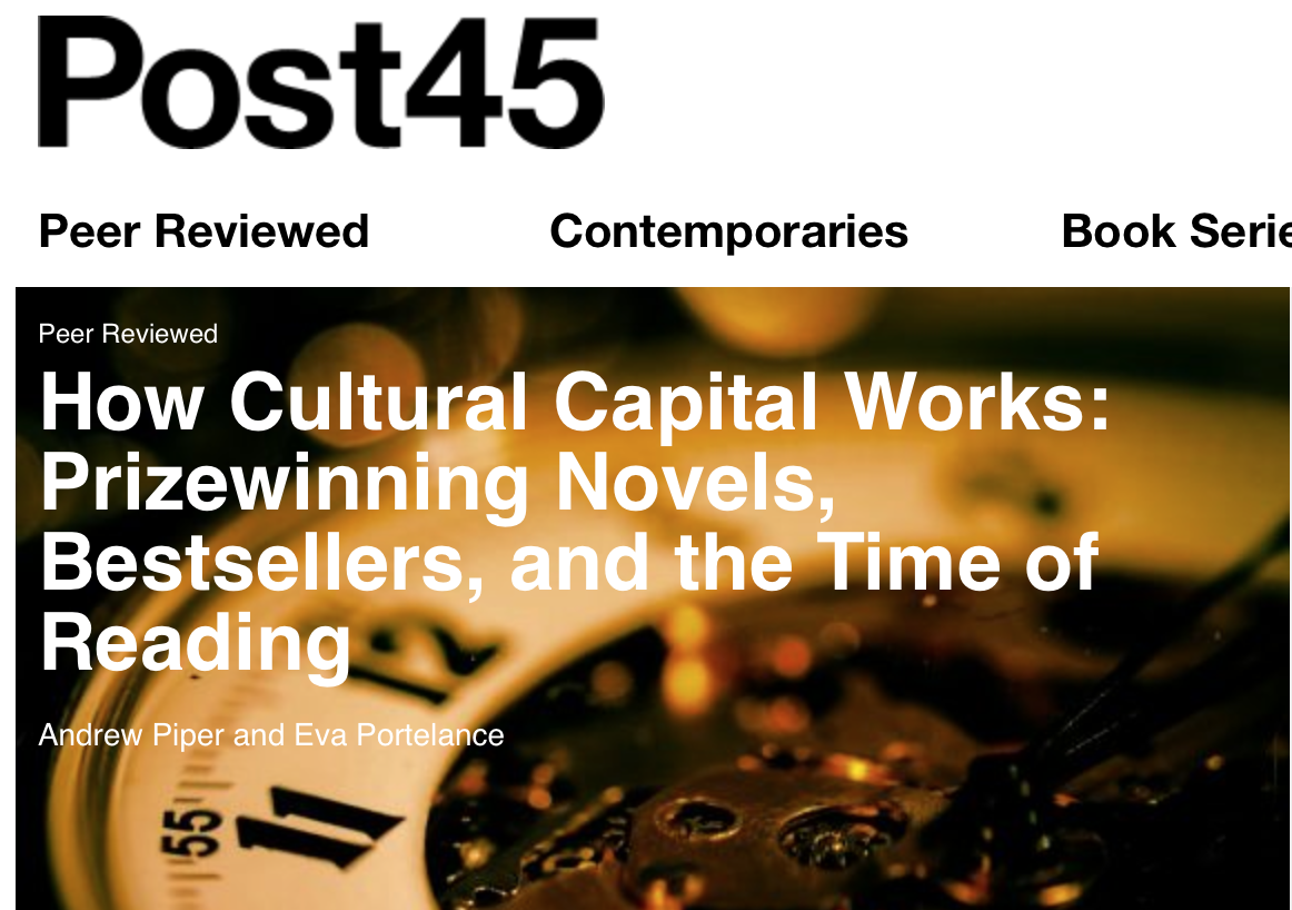 How Cultural Capital Works: Prizewinning Novels, Bestsellers, and the Time of Reading