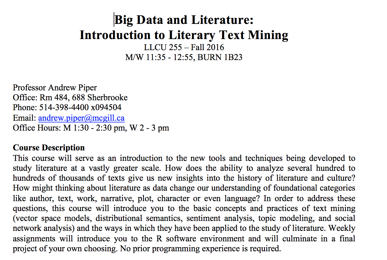 Literary Text Mining Syllabus