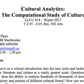 Culture + Computation: New Syllabus in Cultural Analytics LLCU 614