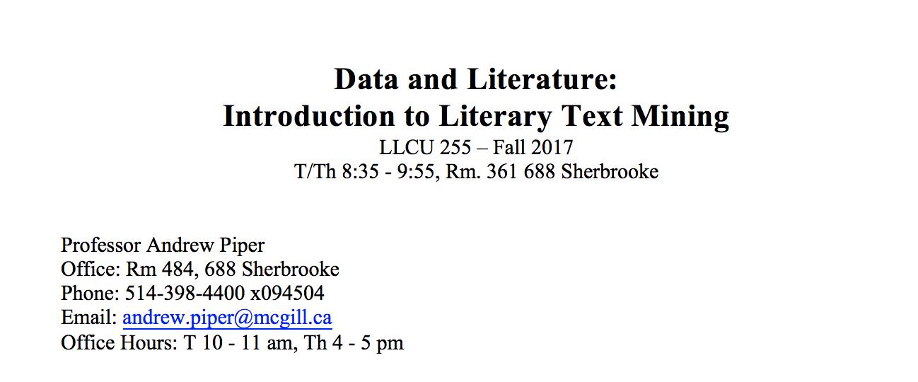 LLCU 255: Intro to Literary Text Mining — New Syllabus 2017
