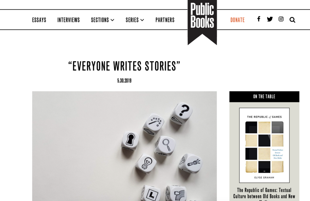 """Everyone writes stories"": A new piece in Public Books"