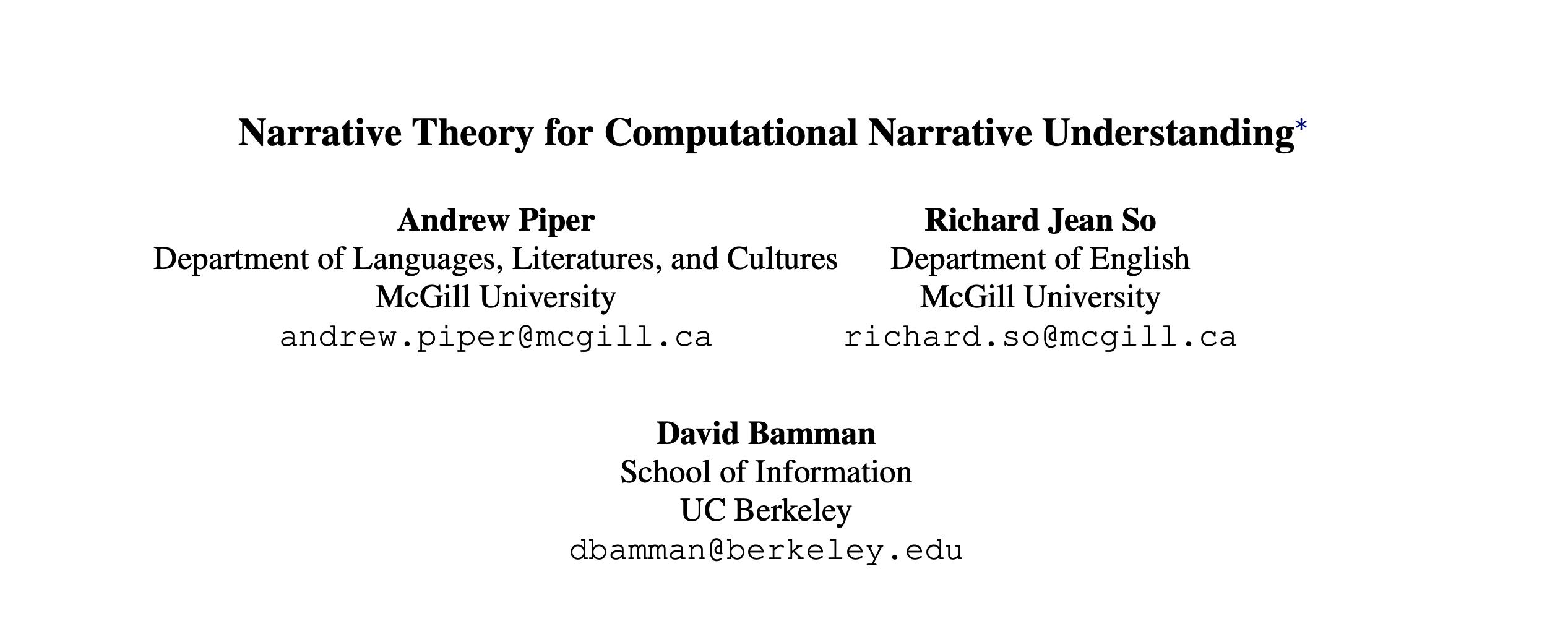 Narrative Theory for Computational Narrative Understanding